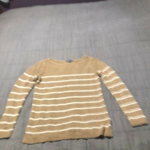 Vince tan Stripe boatneck tunic sweater small