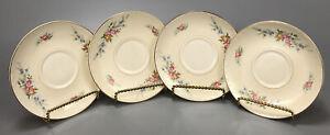 Set-of-4-Vintage-Homer-Laughlin-Georgian-Eggshell-Pattern-Tea-Saucers-AA