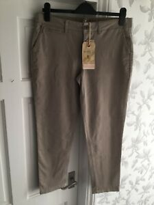 Fat-Face-Womens-Natural-Stone-Ankle-Grazer-Chino-Trousers-Size-12-New-With-Tags