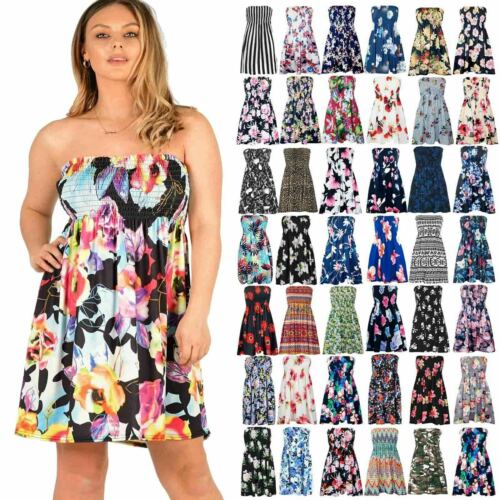 Plus Size Womens Floral Strapless Sheering Top Ladies Boob tube Bandeau Dress