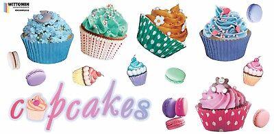 Aufkleber Sticker Wandaufkleber Fenster Dekor Tattoo Muffins Cupcakes Kafe Küche