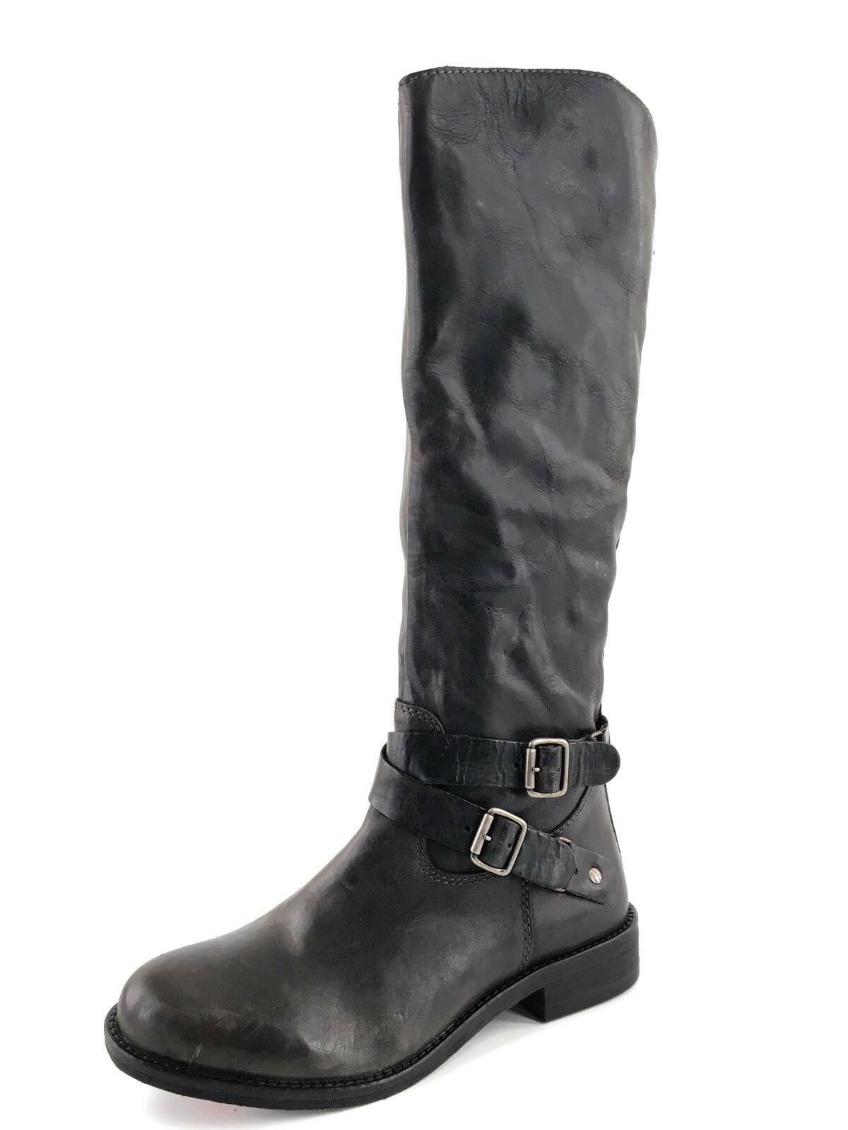 New Hinge Women's Black Distressed Leather Knee High Riding Boots Size 6.5 M