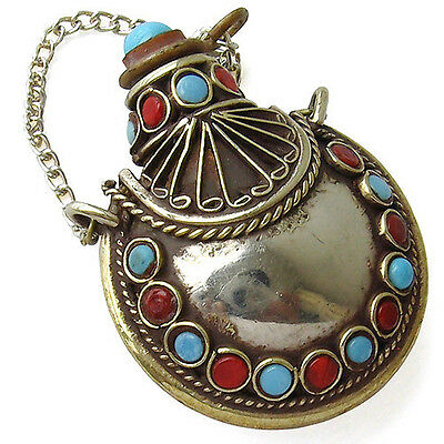 Delicate Tibetan 34 Turquoise Coral Gemstone Spoon Snuff Bottle Amulet Pendant