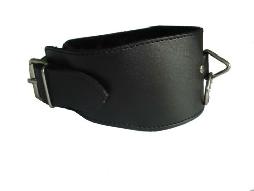 FREE UK DELIVERY CO-43-LEA Black Leather buckled collar with ring