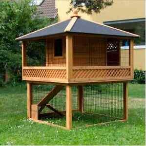 Rabbit hutch patio pagoda spacious pet garden home wooden for Pagoda house plans