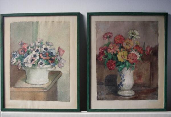 """""""bouquets De Fleurs"""", Deux Aquarelles Sur Papier, Fin Xixème Début Xxème Siècle Marchandises De Haute Qualité"""