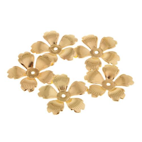 30pcs Metall goldene hohle Ende Blume Perlenkappen 32mm DIY Schmuckzubehör