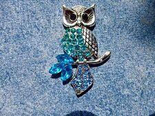 Blue Jewelled Owl Needle Minder Cross Stitch Gift Neodymium Gift Packaged