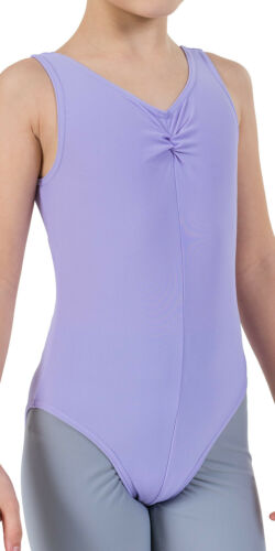 Child Sizes Ruched Front Sleeveless Dance Leotard Colour Lilac
