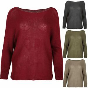 Pull femme col boule Mesdames tricotés Baggy dip ourlet hi lo oversized top t shirt