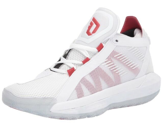 NEW Adidas Dame 6 Shoes EH2069 White Scarlet Red Black Men Sz 9.5