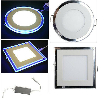Round & Square LED Recessed Ceiling Panel Flat Downlights Lamp Blue 10w 15w 20w