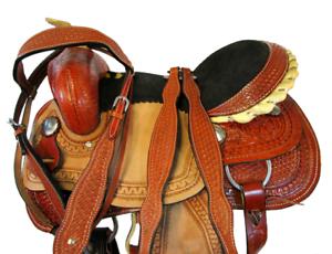 WESTERN TRAIL SILLA MONTURA DE CABALLO HORSE SADDLE ROUGH OUT TOOLED LEATHER