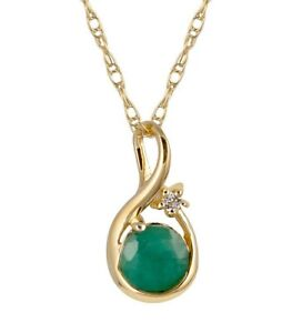 10k-Yellow-Gold-Genuine-Round-Emerald-Pendant-Necklace