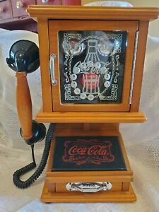 NOSTALGIC COCA-COLA RETRO PUSH PHONE  * WALL HANG OR TABLE * TESTED & WORKS!