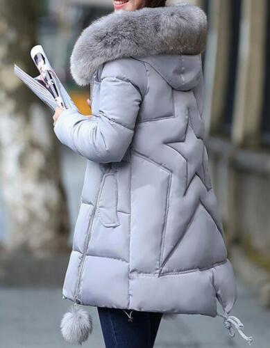 Winter Womens Hooded Down Cotton Jacket Coat Warm Overcoat Parka Fur Collar Chic