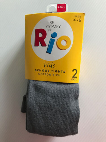 BNWT Girls Age 4 to 6 Years Rio Brand Smart Grey Pack of 2 School Winter Tights