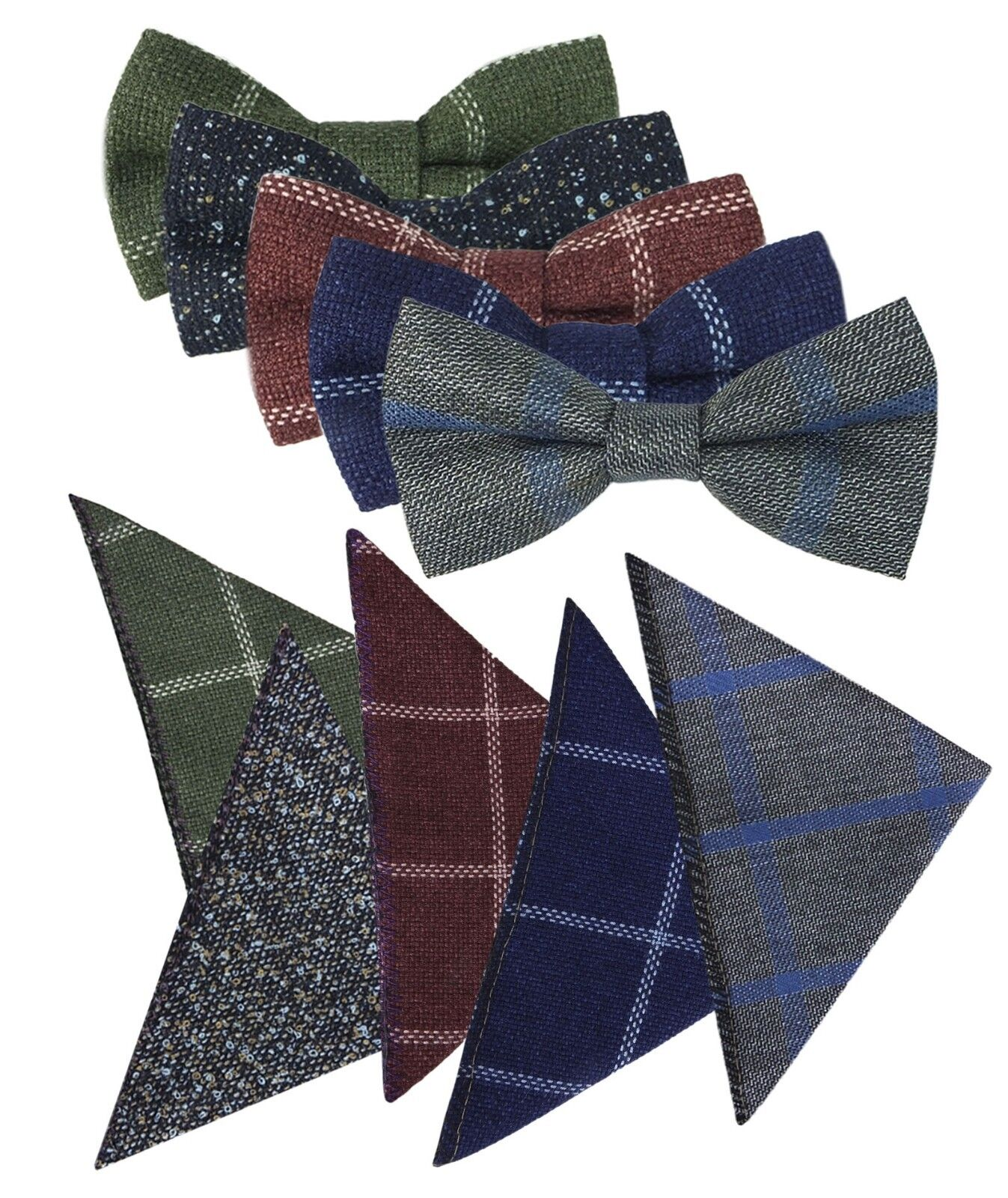 b9cafe8753bf9 Kid Children Boys Check Plaid Tweed Dickie Bow Tie and Pocket Square Hanky  Set. >