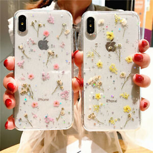 For-iPhone-X-XS-MAX-XR-8-7-6-Luxury-Clear-Real-Dried-Pressed-Flowers-Phone-Case