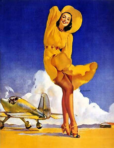 Pin-Up-Girl-with-Plane-8x10-Craft-or-Quilting-Fabric-Block-Buy-2-Get-1-FREE