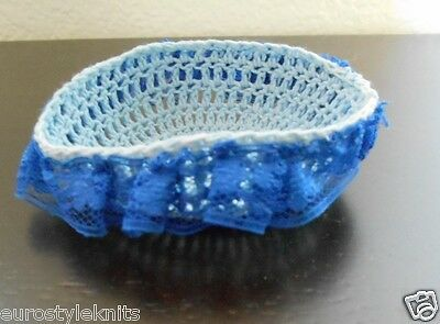 "Mini Hand knitted Crochet Bassinet blue for tiny ooak dollhouse 2"" dolls"