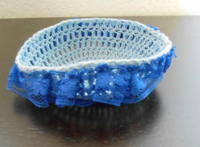 "Mini Hand knitted Crochet Bassinet blue for tiny ooak dollhouse 2"" dolls"
