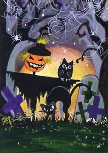 ACEO-Art-Painting-Acrylic-Oils-Past-2-5-034-x3-5-034-V-Vlasiuk-Halloween-Witch-Cat