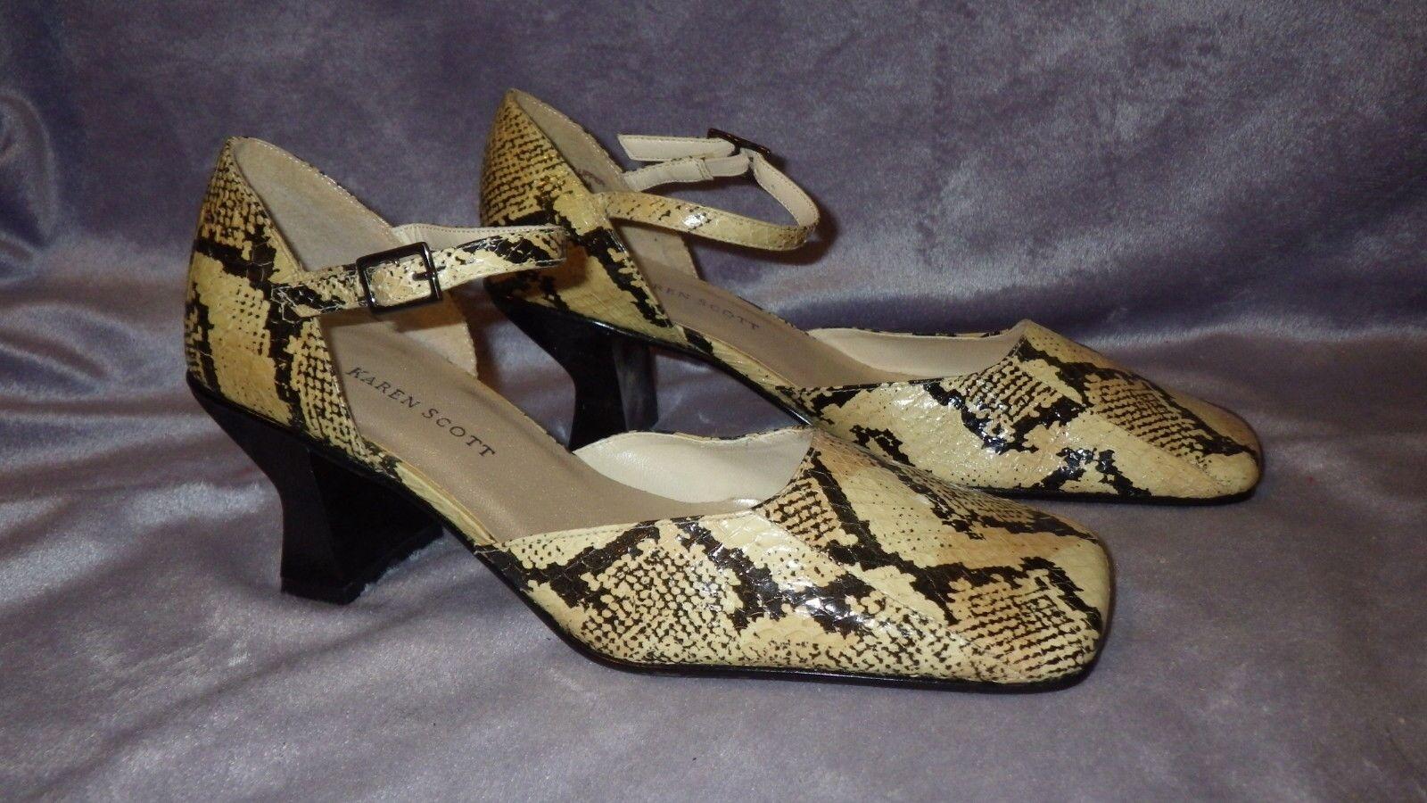 Karen 6.5M Scott Leather Heels Snake Skin Print NWOB 6.5M Karen 2 3/8