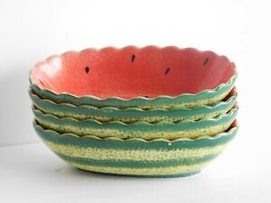 Bowl Watermelon Fruit Dessert Salad Bowl Dishwasher Safe Hand Paint Emcora 4