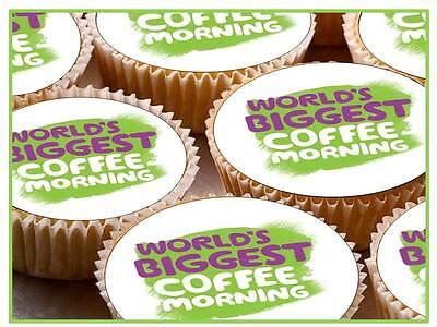 36 x Macmillan Macmilan Logo Cancer Cup Cake Toppers Green Edible Rice Paper