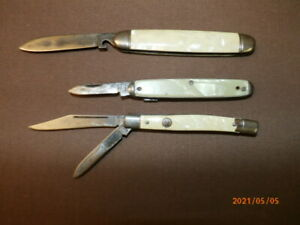 2 Imperial Mother of Pearl Handle & 1 Pearl like handle pocket knifes   (#8)