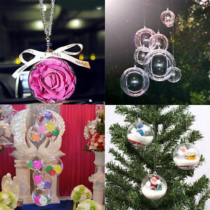 12-Ball-Clear-Plastic-Christmas-Craft-Baubles-Fillable-Xmas-Tree-Decor-Gift