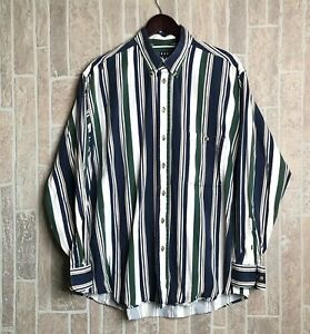 TRADER-BAY-Men-039-s-Long-Sleeve-Button-Down-Striped-100-Cotton-Shirt-XL-Vintage