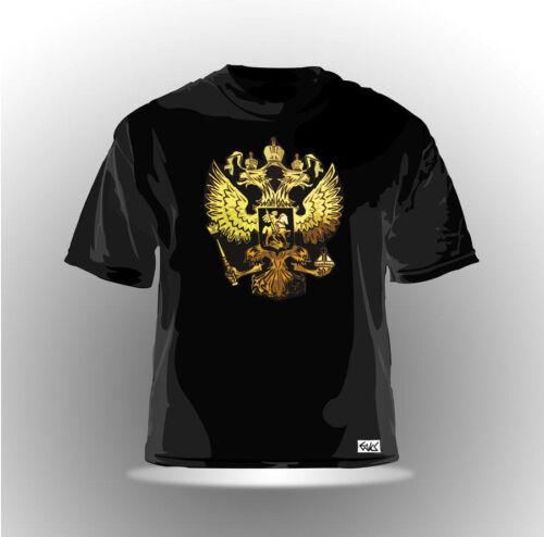 "EAKS® Herren T-Shirt /""RUSSLAND WAPPEN/"" schwarz #2 Russia Putin Moskau Kreml NEU"
