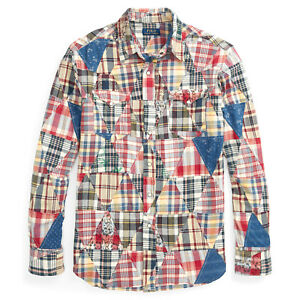 aa7ab0ab Image is loading Ralph-Lauren-Polo-Classic-Fit-Madras-Patchwork-Western-