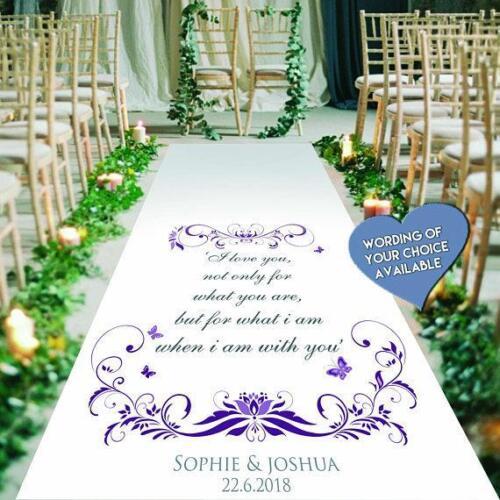 30ft Church//Venue Carpet Decoration 15ft Personalised WEDDING AISLE RUNNER