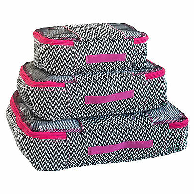 Travel Packing Mesh Bag, Packing Cubes - Assorted 3PC Set - ZigZag Print
