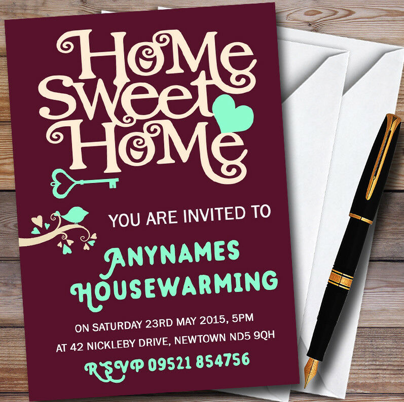 Wine rot Home Sweet Home Personalised Housewarming Party Invitations