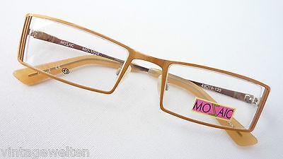 Damen Brille Marken Gestell Schmal Eckig Teilrandlos Metallic Orange Grösse M