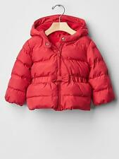 GAP Baby Girl Size 0-6 Months Red Peplum Warmest Puffer Coat Jacket w/Bow