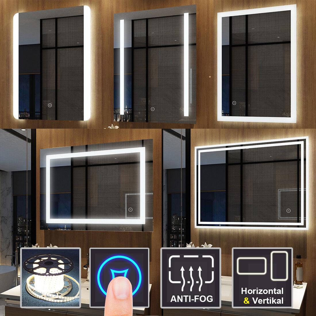 LED Badspiegel mit Beleuchtung Wandspiegel Touch Badezimmerspiegel Lichtspiegel