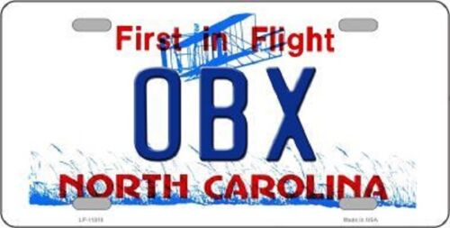 OBX OUTER BANKS NORTH CAROLINA STATE BACKGROUND METAL NOVELTY LICENSE PLATE TAG