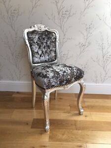 Image Is Loading French Louis Style Shabby Chic Grey Crushed Velvet