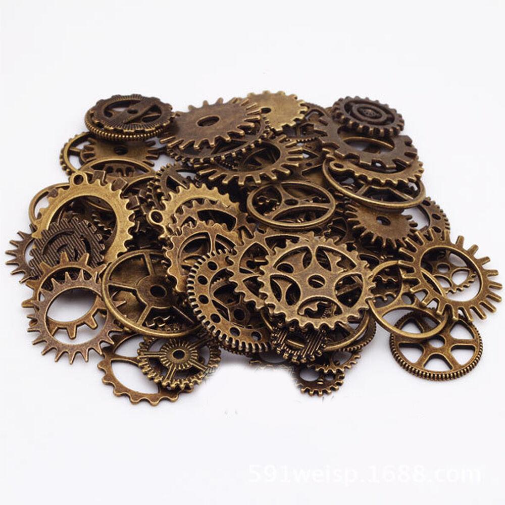 100g perlen uhr anh nger steampunk sets mit zahnr der fr basteln schmuck zubeh r ebay. Black Bedroom Furniture Sets. Home Design Ideas
