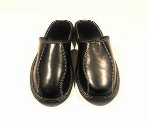 Mens-Black-Real-Leather-Slippers-EU-HAND-MADE-PRODUCT-size-9