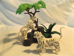 Playmobil-Very-Rare-White-Siberian-Tigers-w-Landscape-Safari-Zoo-Ark-Animals
