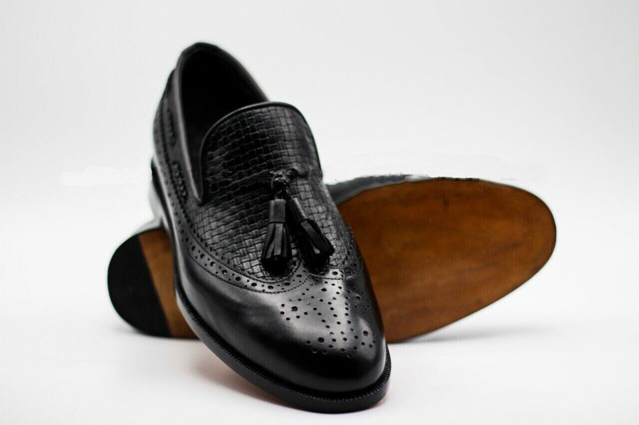 Homme Fait à la main Chaussures en Cuir Noir Richelieu à bout d'aile Enfiler Tassel formel