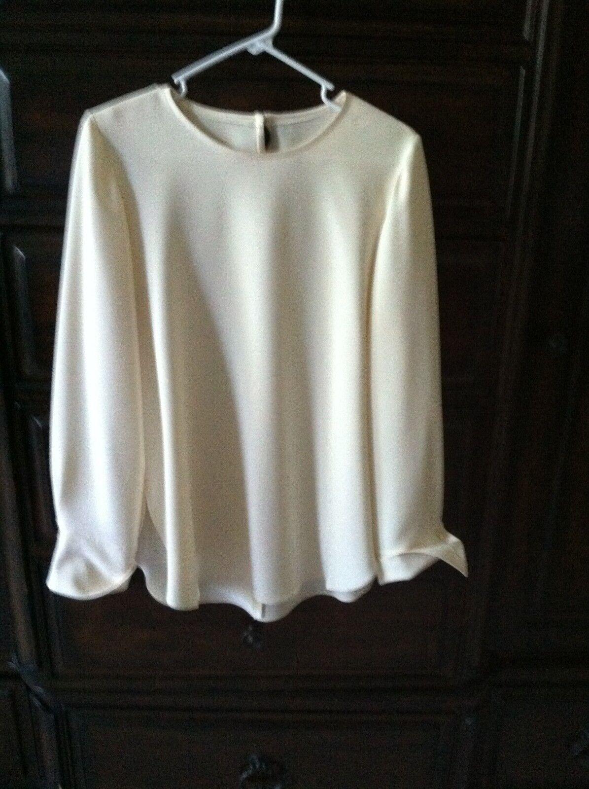 Vintage Designer Heister Long Sleeve Ecru Off White Tunic Top   M