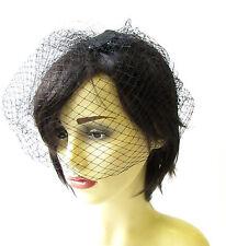 Black Birdcage Veil Hair Clip Fascinator Net Hair Vintage Races Headpiece 1380
