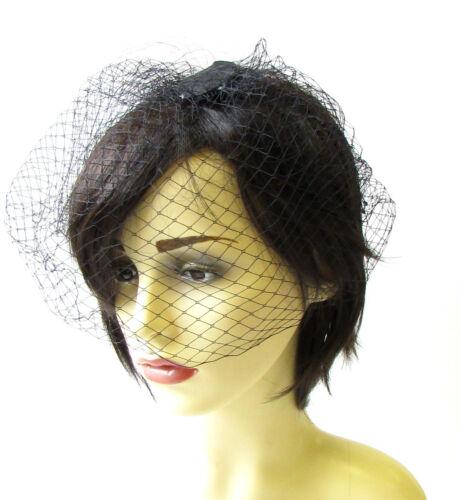 Schwarz Birdcage Schleier Haar-clip Fascinator Net Haare Vintage Rennen